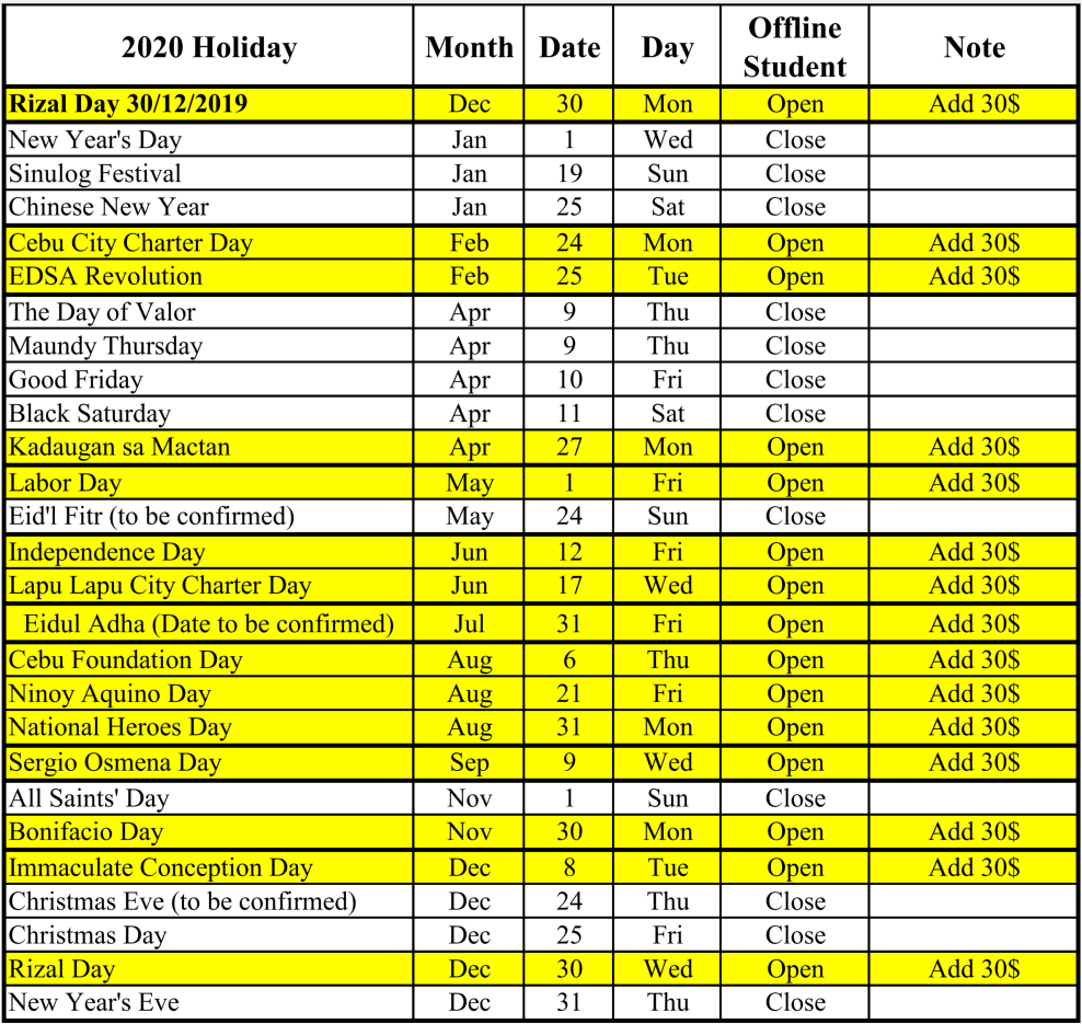 Lịch nghỉ lễ tại Philippines 2020